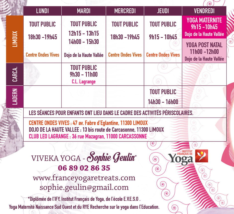 Yoga class in Carcassonne Limoux Yoga for adults yoga and maternity yoga for children