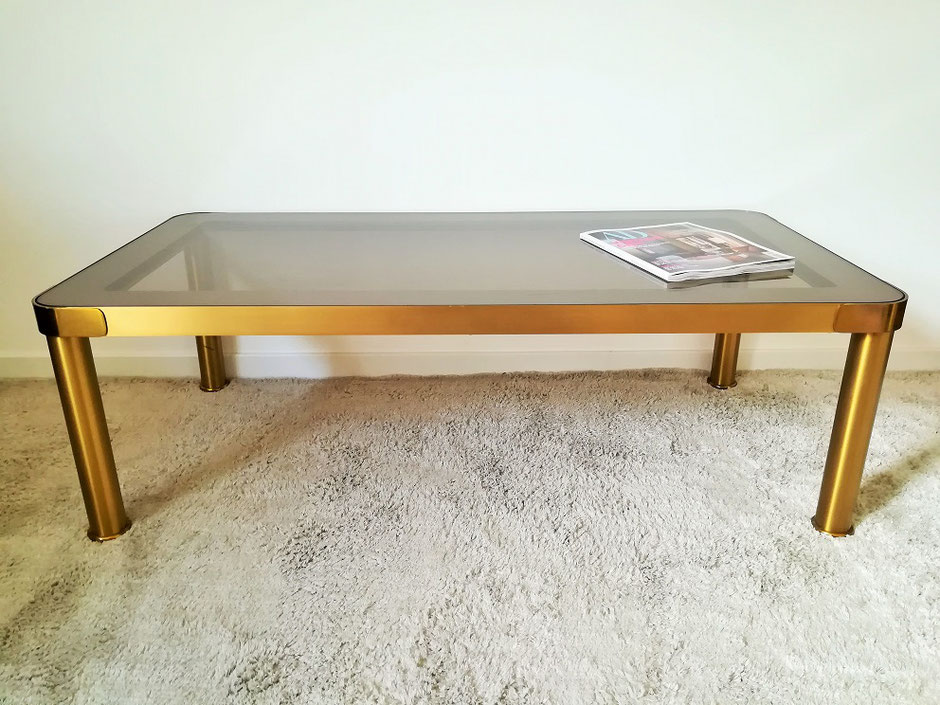 Table basse vintage laiton et verre fumé