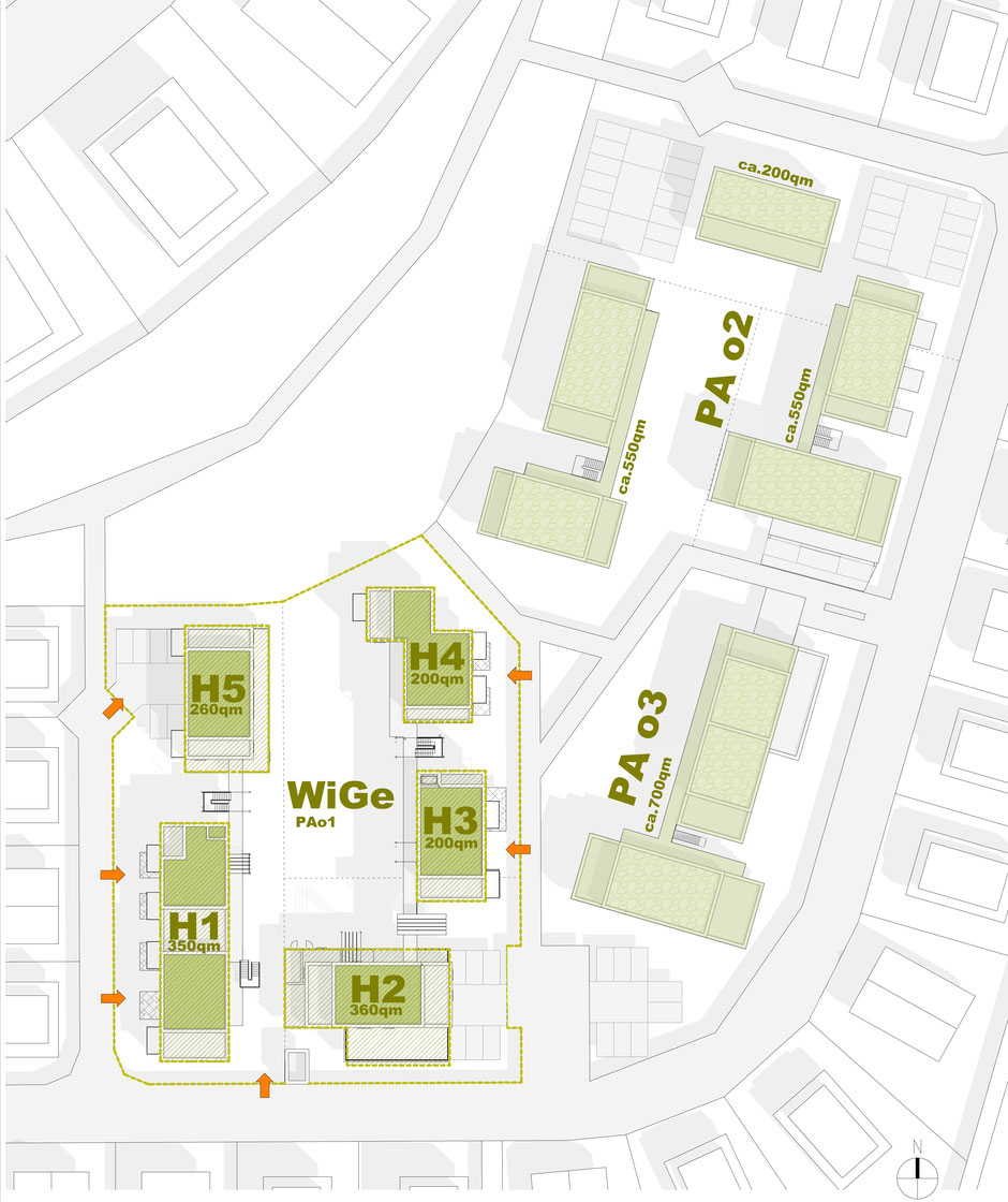 Lageplan der Planungsabschnitte PA1 - PA3