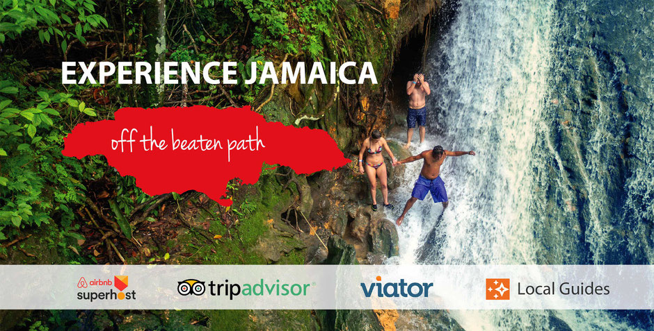 Jamaica Excursions by IRIELAB company - people in the jungle near waterfall