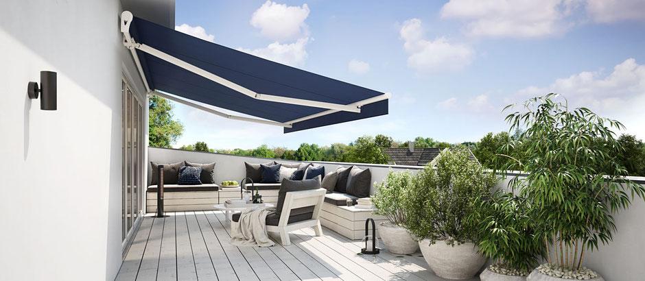 Markise, Volant, Sonnenstoren, Internetsteuerung, Terrasse, Komfort, Wohlfühlambiente, Beleuchtung, Musik