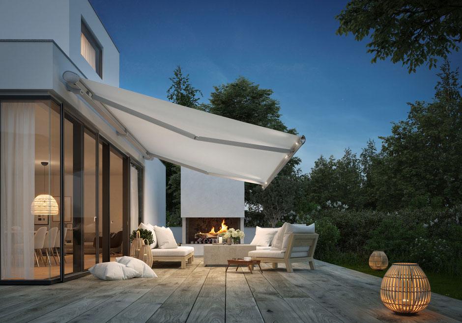 Markise, Sonnenstoren, Terrasse, Komfort, Wohlfühlambiente, Beleuchtung, Musik