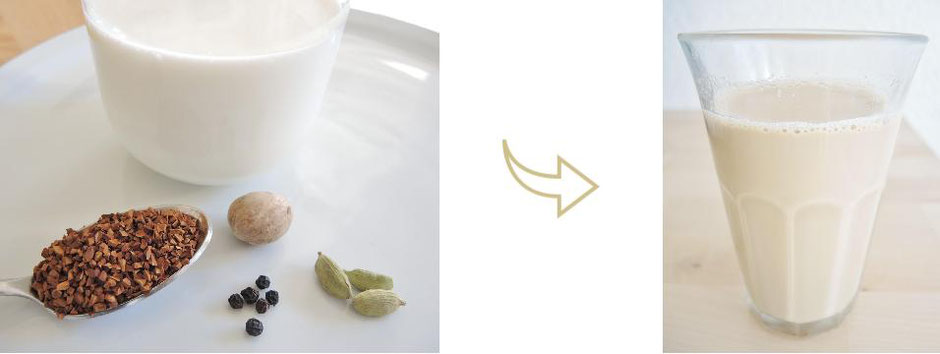Café au lait épicé - noix de muscade - poivre - cardamome - petit-déjeuner - végétarien - boisson