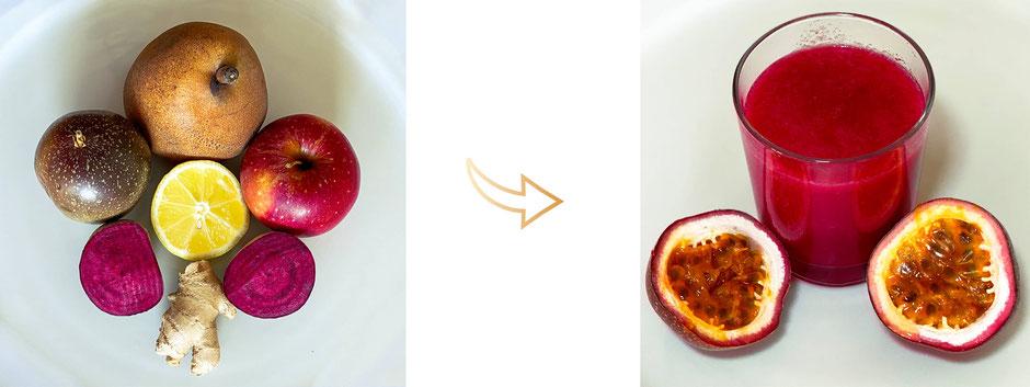 Jus immuno-passion vegan fruit passion betterave pomme poire gingembre citron - boostez votre immunité