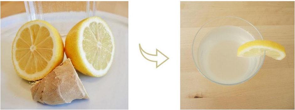 Boisson tonique gingembre et citron, Végétalien, excellent pour Vata et Kapha