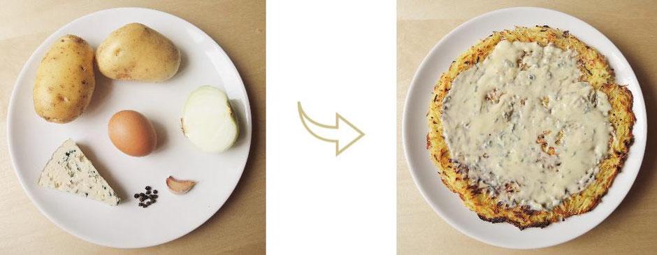 Crique ardèchoise au bleu du Lizieux - mets- oeuf - pommes de terre - oignon - ail - poivre - végétarien - Vata