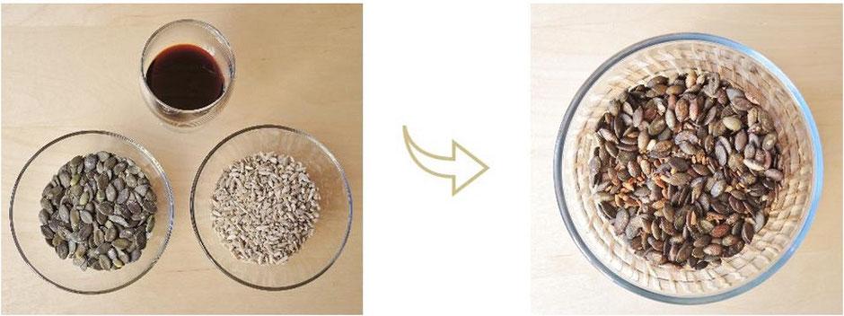 Amuse-gueule - graines courge et graines tournesol toastées - végétalien - Vata Pitta Kapha