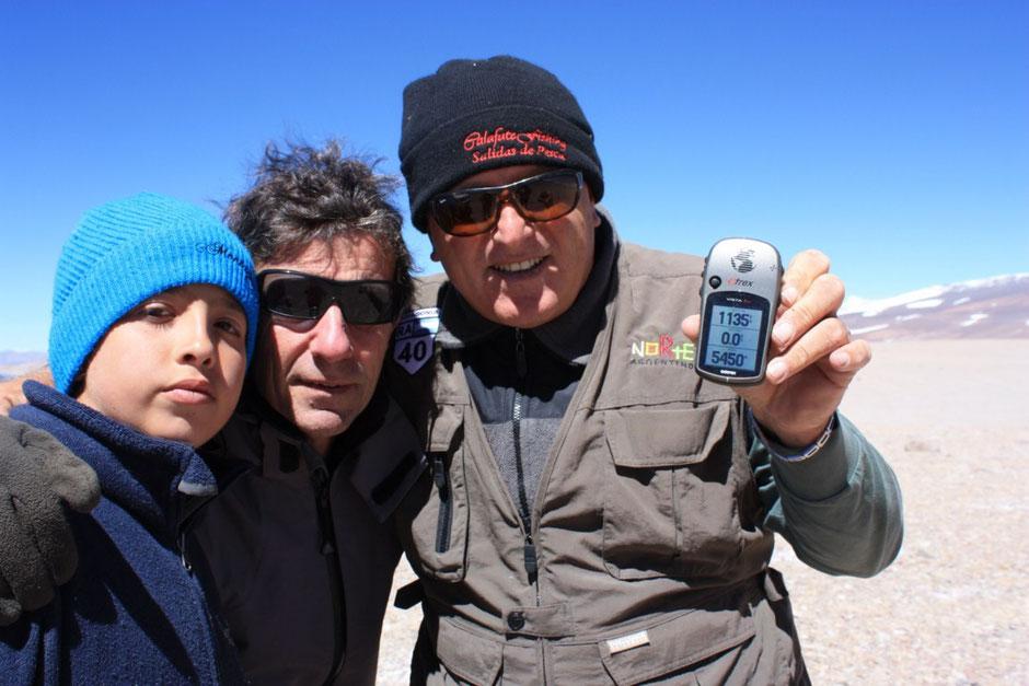 El GPS muestra la altura de 5450mts.