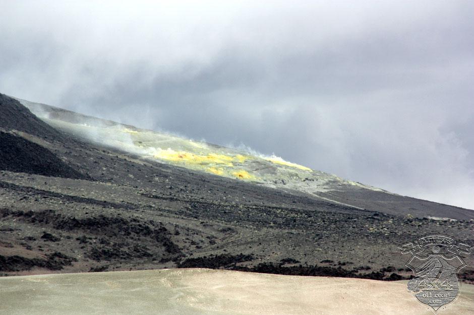 Volcan Lastarria ,el azufre hirviente desprende gases tóxicos que por suerte el viento no soplaba hacia nuestra posición.