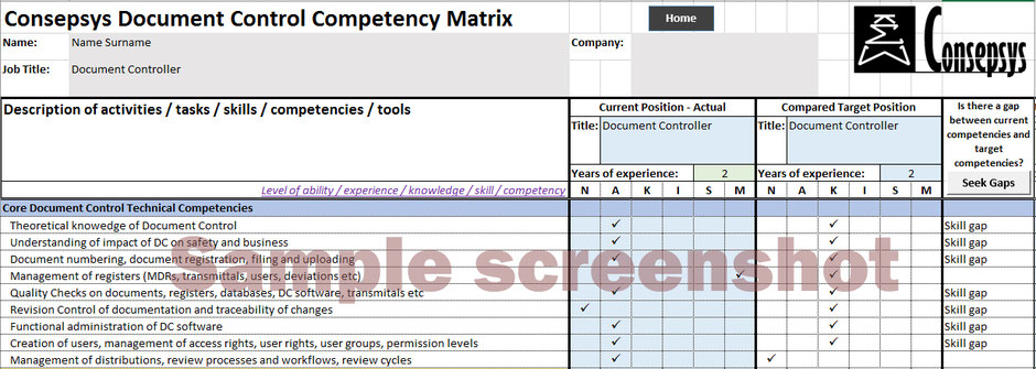 Document Control Competency Matrix Consepsys