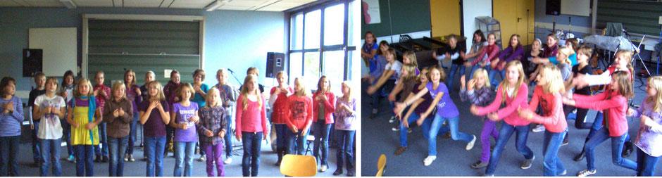 Auf beiden Bildern sind Schülerinnen und Schüler des Unterstufenchors beim Proben zu sehen.