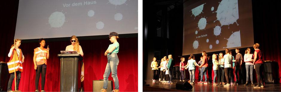 linkes Bild: Kinder in der Tonne; rechtes Bild: Schauspieler in Aktion