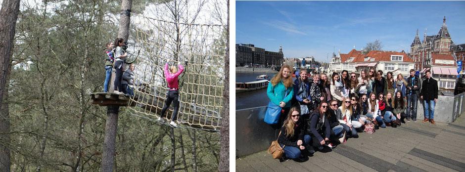 linkes Bild: Klettern in der Höhe; rechtes Bild: Gruppe in Amsterdam