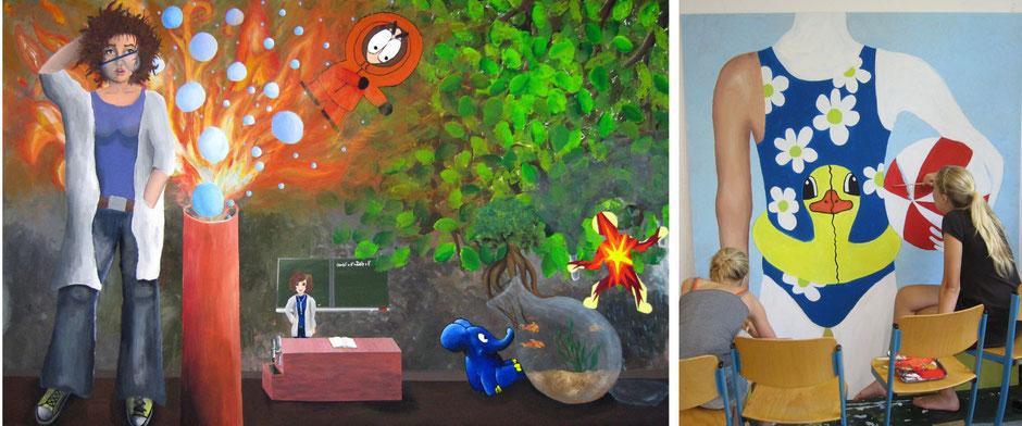 """linkes Bild: Acrylmalerei """"Boom""""; rechtes Bild: Entwürfe und erste Umsetzungen für neue großformatige Malereien"""
