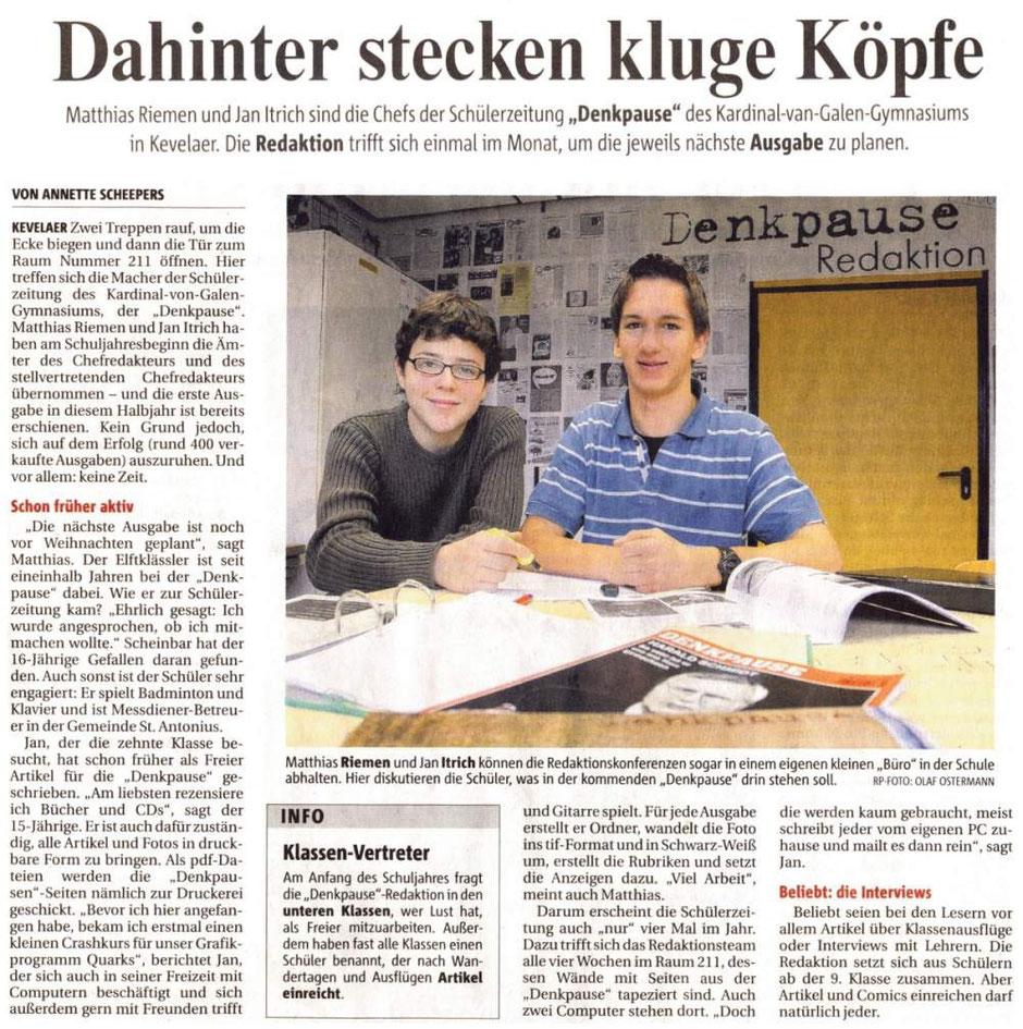 Rheinische Post, 18.12.2007 (Neue Denkpause-Chefs)