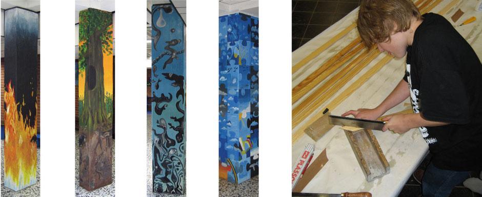 Acrylmalerein auf den vier Säulen in der Pausenhalle