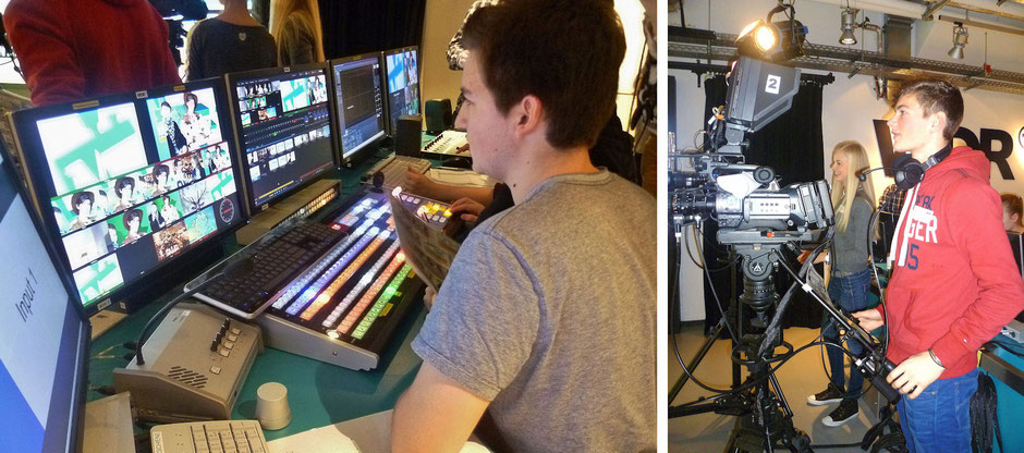 linkes Bild: Schüer bei der Arbeit am Mischpult; rechtes Bild: Schüler bei der Arbeit an der Kamera