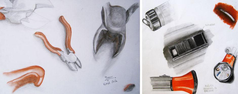 Zeichnungen mit Bunt-, Graphit- und Kreidestift