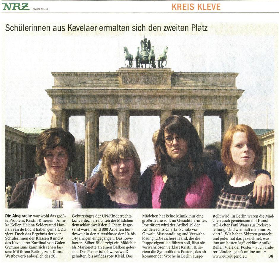 NRZ Kleve, 28.04.2010 (Kunstpreisverleihung in Berlin/Kunst AG)