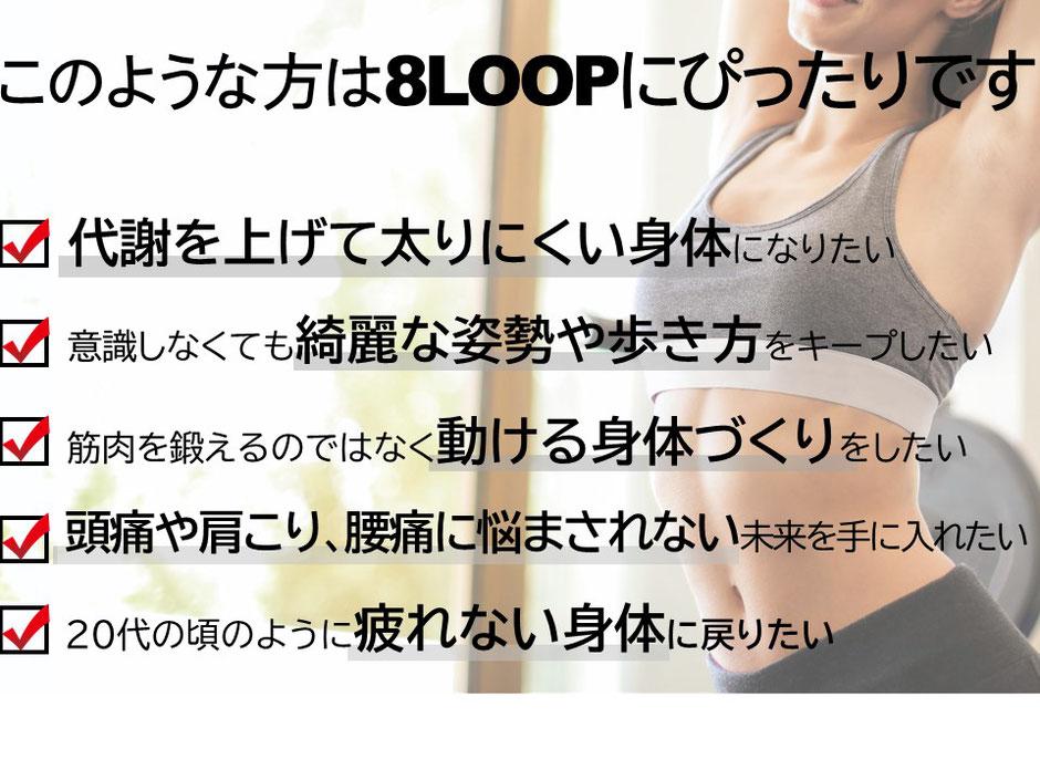 大阪のパーソナルトレーニングジム「エイトループ」おすすめ、代謝を上げて太りにくい身体になる、キレイな姿勢や歩き方、動ける身体づくり、頭痛肩こり腰痛ひざ痛に悩まされない、20代のような疲れない身体