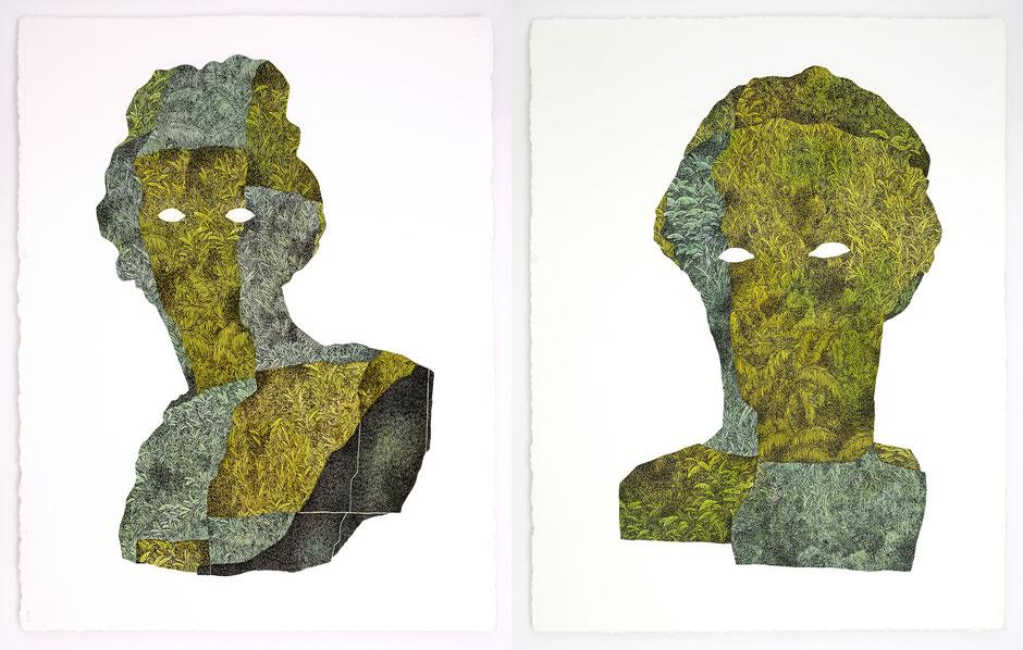 """""""FOLKLORE IV"""" & """"FOLKLORE V"""" _ encre et aquarelle sur papier _ 56x76cm"""