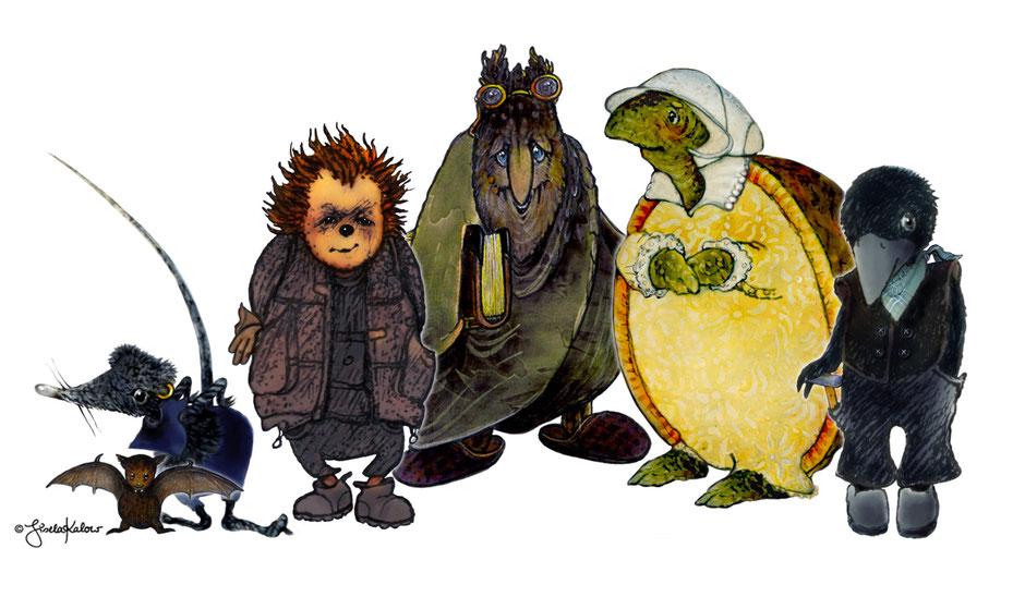 Die Schlosstiere Fleda, die Maus, Ratte Remmer, Igel Thomasius, Eule Sophus, Marias Schildkröte und Krähe Jacob anlässlich der Ratte-Remmer-Tage in Jever 2017. © Gisela Karlow