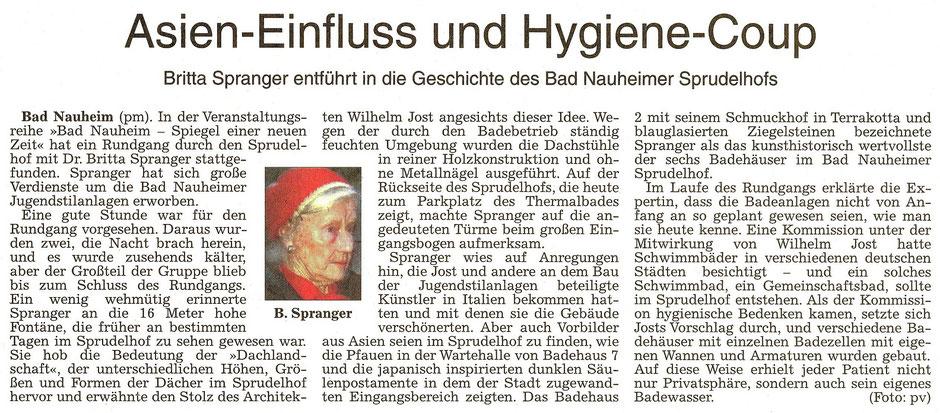 Asien-Einfluss und Hygiene-Coup: Britta Spranger entführt in die Geschichte des Bad Nauheimer Sprudelhofes, Text und Foto: Brigitte Lepper, WZ 30.03.2017
