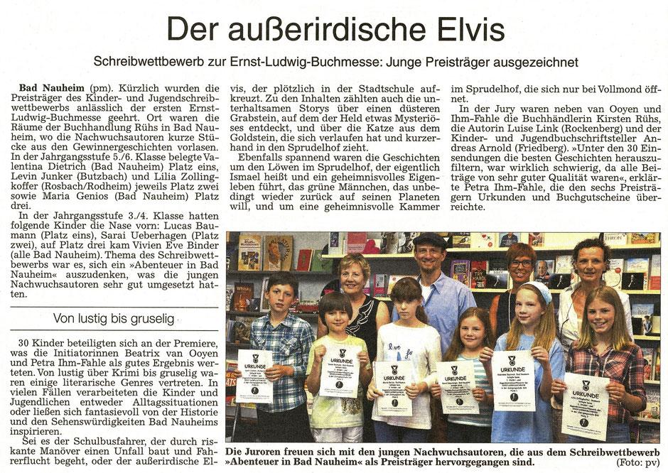 Der außerirdische Elvis, Schreibwettbewerb zur Ernst-Ludwig-Buchmesse: Junge Preisträger ausgezeichnet, Text und Foto: Petra Ihm-Fahle, WZ 26.07.2017