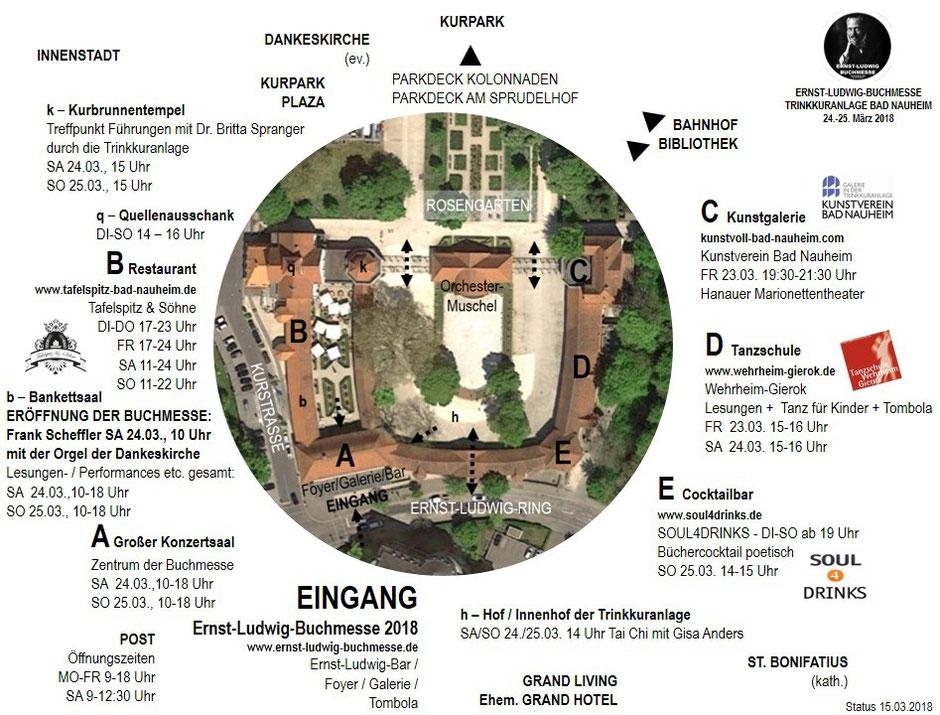 Übersicht über die Trinkkuranlage, Ort der Ernst-Ludwig-Buchmesse und die Termine