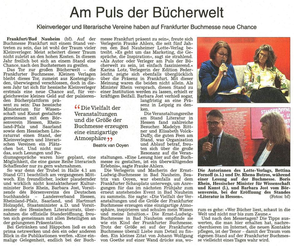 Am Puls der Bücherwelt, WZ 18.10.2018, Text + Fotos: Frauke Ahlers, Beatrix van Ooyen und pv