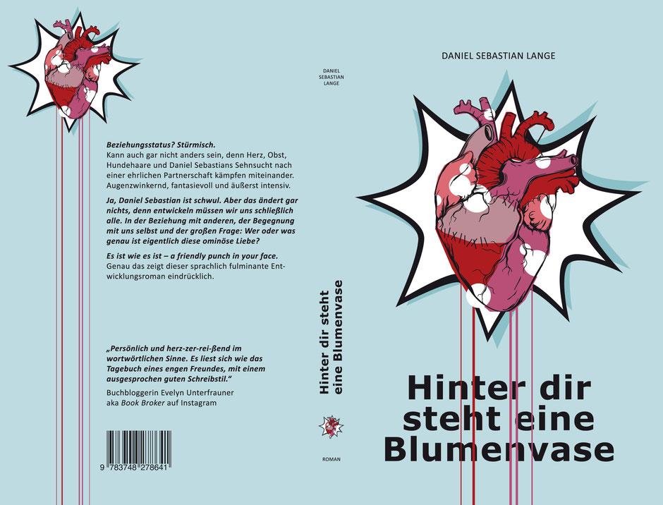 """Buchcover """"Hinter dir steht eine Blumenvase"""", Autor Daniel Sebastian Lange, trendition Verlag"""