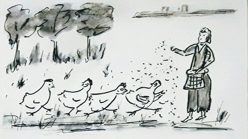 """Illustration """"Die Farm der Hühner"""" von Doris Bauer"""