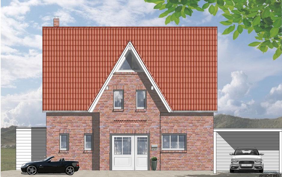 bild1: Friesenhaus in telgte, eingangsseite mit carport, bockhaus-odenthal architekten, architektur,immobilien,design