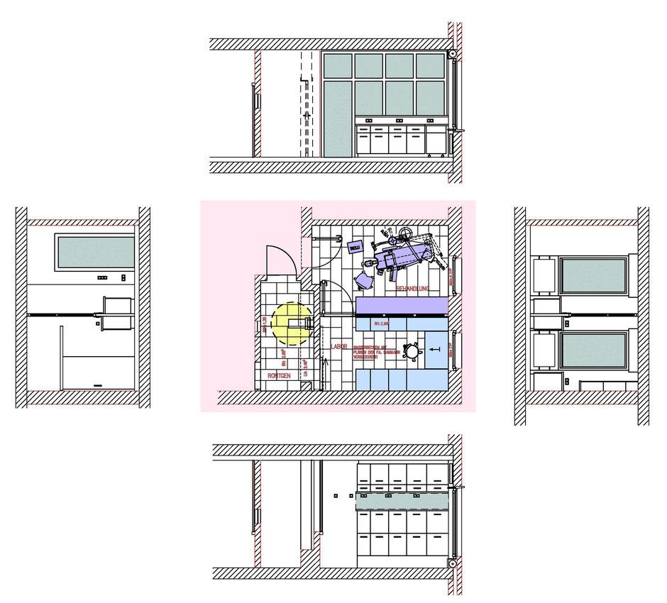 zahnarztpraxis münster, behandlungsbereich und röntgen, Bockhaus-Odenthal Architekten Münster realisieren|optimieren|sanieren|seit 1989 Architektur-individuell |kreativ|energetisch|Architekten AKNW,NRW,germany architects