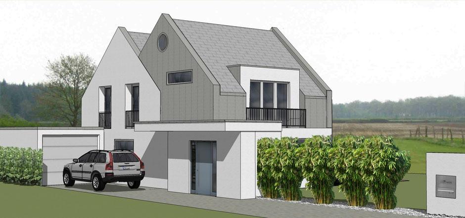 bild2:erweiterung haus s in roxel  bockhaus-odenthal architekten münster  bauhaus  perspektive  putzfassade  Giebel  Gaube  bodentiefe Fenster