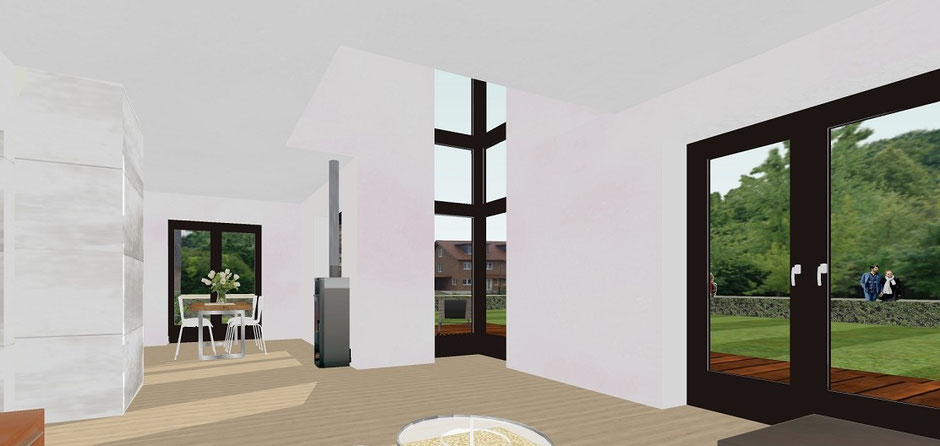 Bild 6: haus B münster gelmer, visualisierung luftraum, eckverglasung über 2 geschosse, bockhaus-odenthal architekten münster, architektur immobilien design,einfamilienhaus,wohnhaus