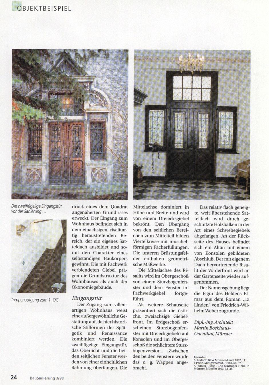 Bilderreihe: Bild5 : Artikel aus der Bausanierung, Sanierung eines Originals, Haus Elmar Münster