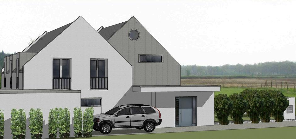 bild3: erweiterung haus s in roxel  bockhaus-odenthal architekten münster  bauhaus  perspektive  putzfassade  Giebel  Gaube  bodentiefe Fenster