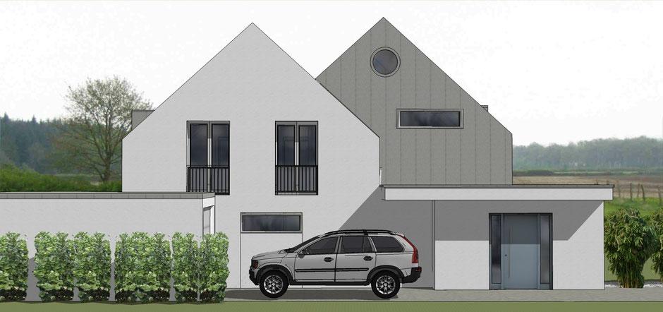 bild3:erweiterung haus s in roxel  bockhaus-odenthal architekten münster  bauhaus  perspektive  putzfassade  Giebel  Gaube  bodentiefe Fenster