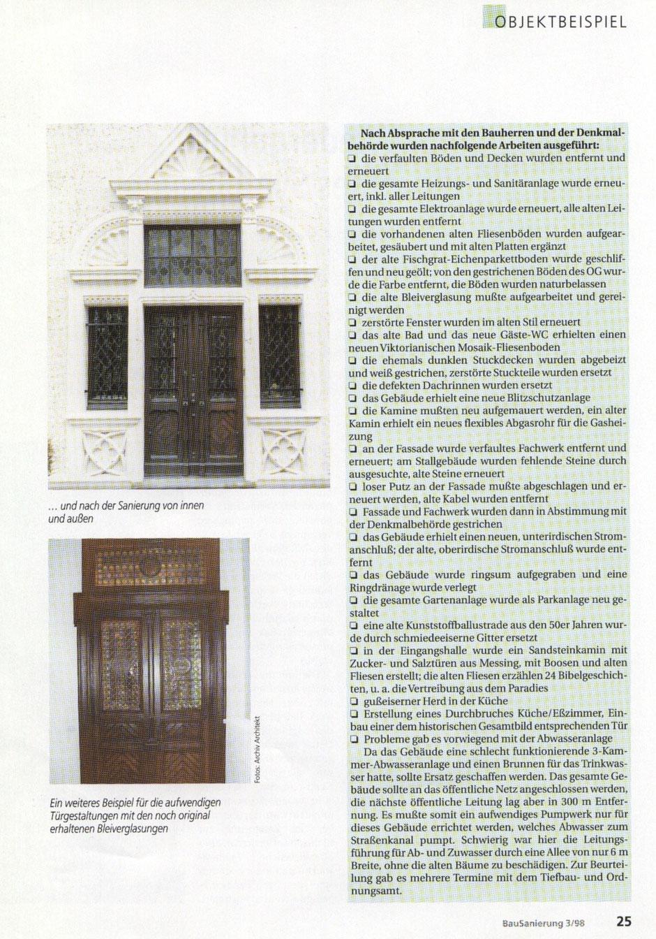 Bilderreihe: Bild6 : Artikel aus der Bausanierung, Sanierung eines Originals, Haus Elmar Münster
