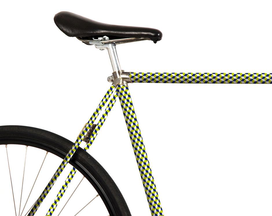 Folie, Fahrrad, bike, grüne Würfel, klassische Muster, Escher