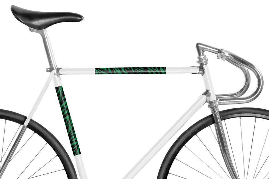 Fahrrad, reflektierende Folie, Zebra, Animal Print