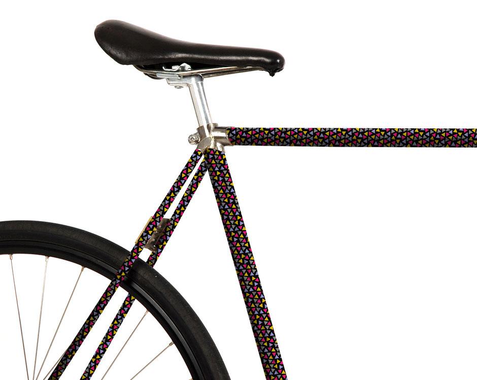 Mooxi-Bike, Fahrrad Folierung, Konfetti, bunt, Triangel, Dreiecke, 80er, Popper