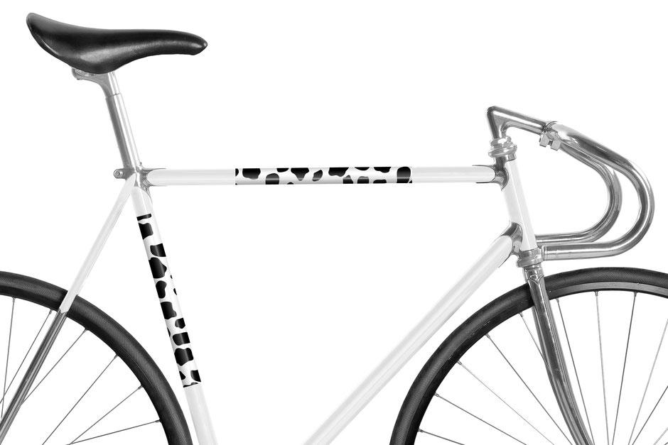 Fahrrad, reflektierende Folie, schwarz und weiß, Tier, Bauernhof, Cowboy, Kuh, Land, Animal Print, Dalmatiner