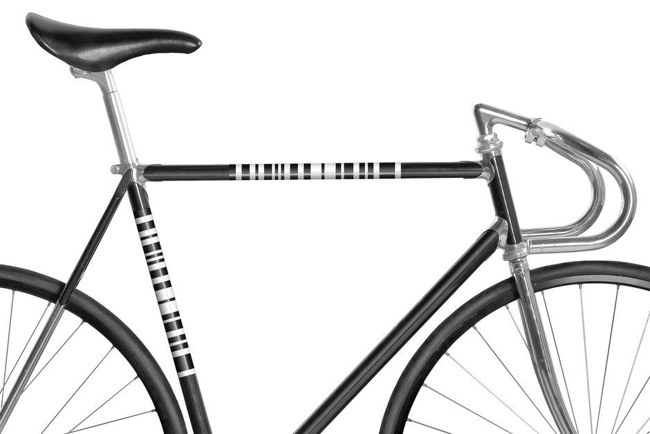 Fahrrad, Bike, Panel, Banderole, reflectiv, reflektierend, schwarz, weiss, Ringel, Streifen