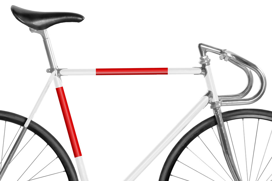 Fahrrad, Bike, Panel, Banderole, reflectiv, reflektierend, reflektierende Folie, Knallrot, rot