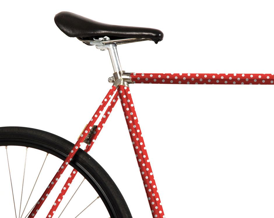 Fahrrad Folierung, Bike, rot, Punkte, weiß, Rockabilly, 60er Jahre, Rocken Roll, Elvis, Maikäfer, süß, Mädchen