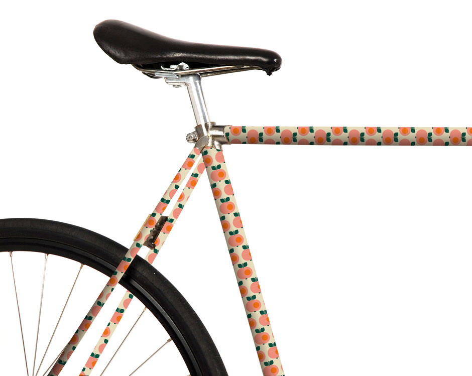 Mooxi-Bike, Fahrrad Folierung, Bonnie und Buttermilk, Dawanda, Mode, retro, Äpfel, Apple, beige, Rosa