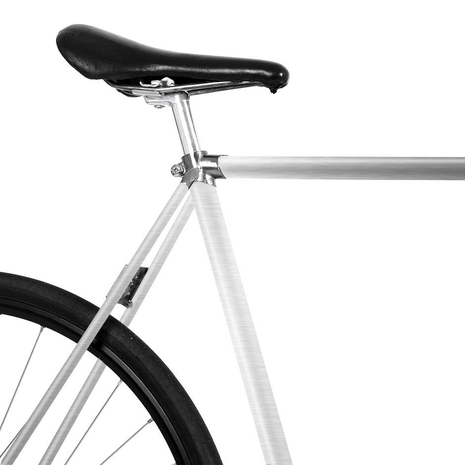 Fahrrad, Bike, Folie, weiß, Brushed Aluminium, Aluminium Matt