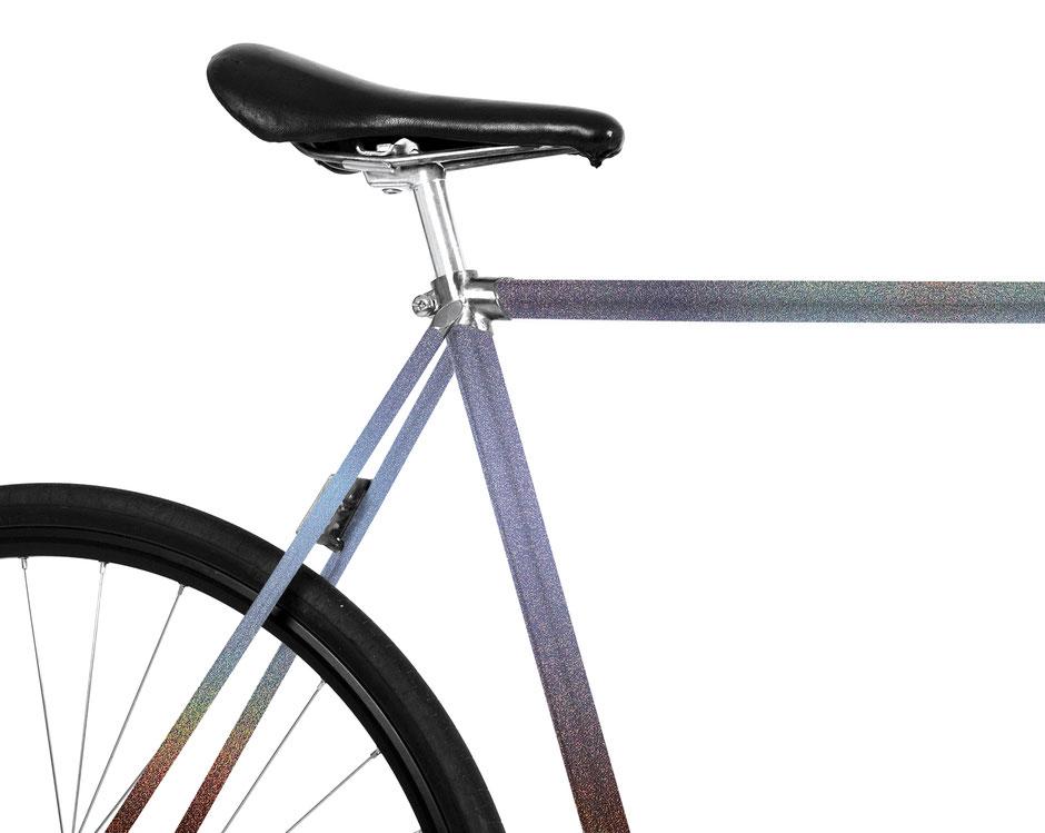 MOOXIBIKE, Folie, Fahrrad, bicycle, blau, galaxy, Sternenstaub, glitter